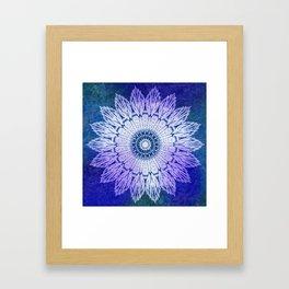 tie dye sunflower mandala in blues Framed Art Print