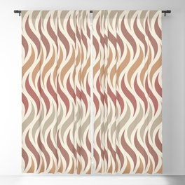 African Pattern Wavy Lines 70s Style Terracotta Blackout Curtain