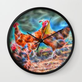 Abstract Rooster and Hens Wall Clock