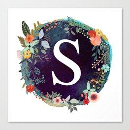 Personalized Monogram Initial Letter S Floral Wreath Artwork Canvas Print