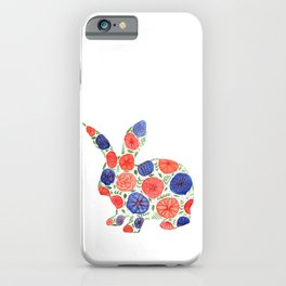 Bunny Silhouette with whimsical flowers iPhone Case