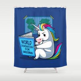 World Domination for Unicorns Shower Curtain