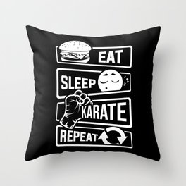 Eat Sleep Karate Repeat - Martial Arts Defence Throw Pillow