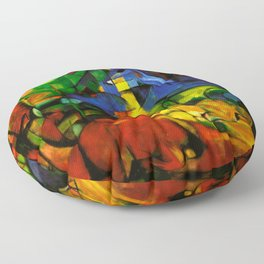 Deers in Wood by Franz Marc Floor Pillow