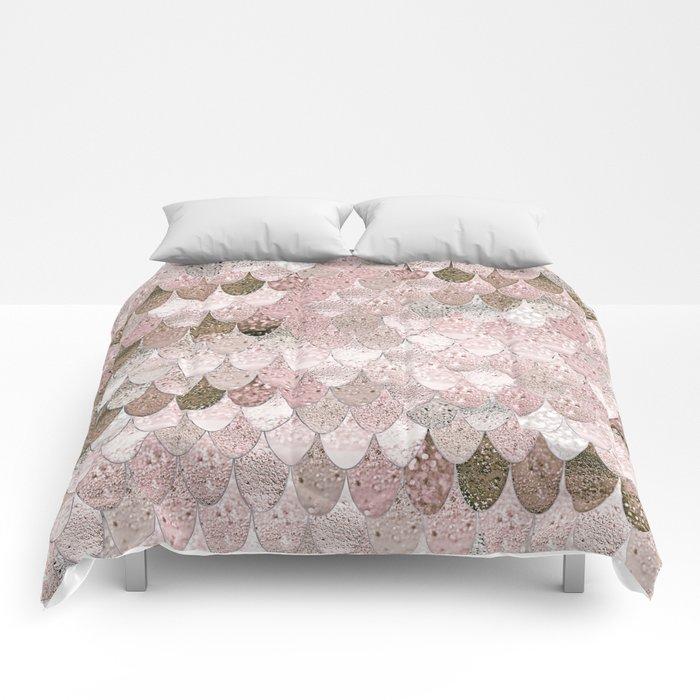 SUMMER MERMAID NUDE ROSEGOLD by Monika Strigel Comforters