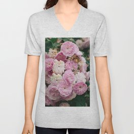 The smallest pink roses Unisex V-Neck