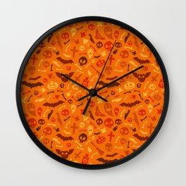 Halloween Orange Pattern Wall Clock