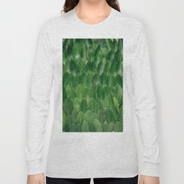 Layers Of Green Leaves Pattern Geometric Pattern Long Sleeve T-shirt