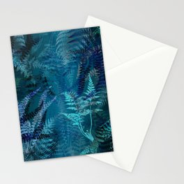 Night Forest Blue Fern Leaves Botanical Abstract Stationery Cards
