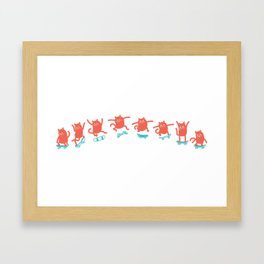 Kick Flip Cat Framed Art Print