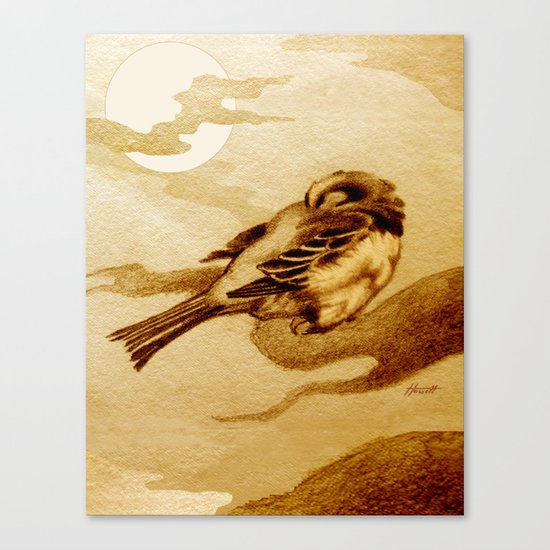 Sparrow by Moonlight Canvas Print