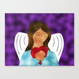 You Are Loved Expressed By Angel Wth Heart By Annie Zeno Canvas Print