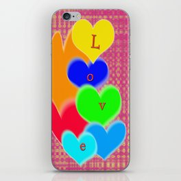 coloured love hearts iPhone Skin