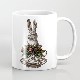 Rabbit in a Teacup | Rabbit and Flowers | Bunny Rabbits | Bunnies | Easter Rabbits | Hares | Coffee Mug