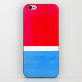Colorful Bright Minimalist Rothko Midcentury Modern Art Vintage Pop Art Neon Red Cerulean Blue iPhone Skin