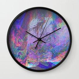 13-47-23 (rainbow haze glitch plus pink border) Wall Clock