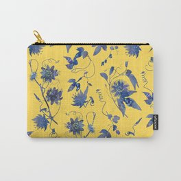 Elegant Blue Passion Flower on Mustard Yellow Carry-All Pouch