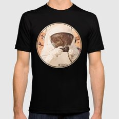 Astronaut Cat on Mars LARGE Black Mens Fitted Tee