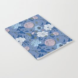 Lovely Seamless Floral Pattern With Subtle Poodles (Hand Drawn) Notebook