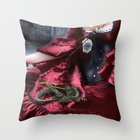 mother of dragons Throw Pillows featuring mother of dragons by YattaGiulia