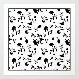 Black and white floral pattern . Art Print