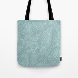 Fancy Light Blue Leaves Scroll Damask on Dark Turquoise Tote Bag