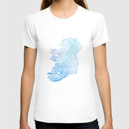 Typographic Ireland - Blue Watercolor map T-shirt