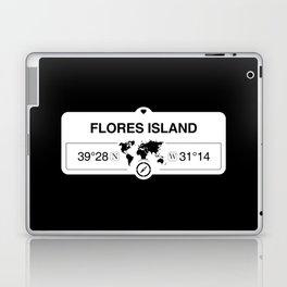 Flores Island Azores with World Map GPS Coordinates Laptop & iPad Skin