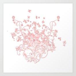 Butterfleur - floral design with flowers & butterflies Art Print