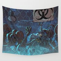 zombies Wall Tapestries featuring Zombies at the gates by Richtoon