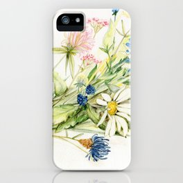 Bouquet of Wildflowers Original Colored Pencil Drawing iPhone Case