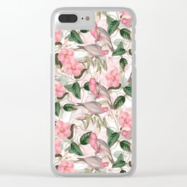 Vintage & Shabby Chic - Pink Tropical Birds And Flowers Clear iPhone Case