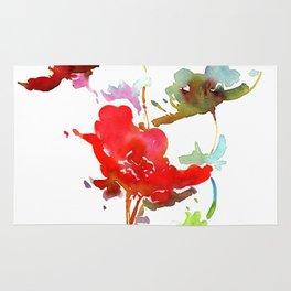Red Wildflower Print Rug