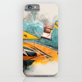 Boeing P-26A Peashooter watercolor iPhone Case