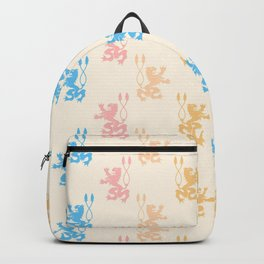Vintage chic pink blue yellow lions damask pattern Backpack