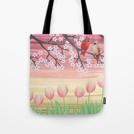 cardinals & tulips in spring Tote Bag