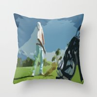 golf Throw Pillows featuring GOLF by aztosaha