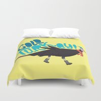 turkey Duvet Covers featuring Cold Turkey by Chelsea Herrick