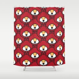Red Riding Shibe Shower Curtain