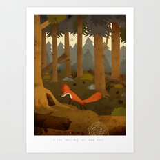 A fox smelling its own hole Art Print