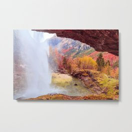 Waterfall in an autumn day in the italian alps Metal Print