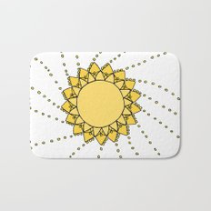 Celestial Swirling Sun Boho Mandala Hand-drawn Illustration on White Bath Mat