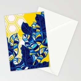 Geo Pop Foliage on Yellow & White Stationery Cards
