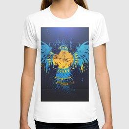 Kazakhstan flag grunge art Kazakh flag eagle flag of Kazakhstan symbolism of Kazakhstan T-shirt