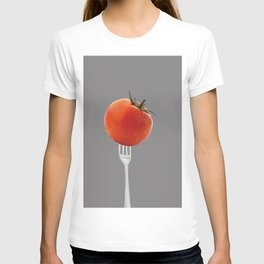 fork with tomato - grey T-shirt