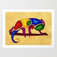 chameleon Art Prints featuring Chameleon by Aleksandra Mikolajczak