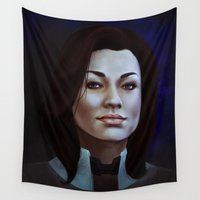 mass effect Wall Tapestries featuring Mass Effect: Miranda Lawson by Ruthie Hammerschlag