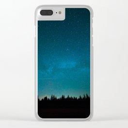 Blue Milky Way Galaxy Pine Tree Silhouette Night Star Sky Clear iPhone Case