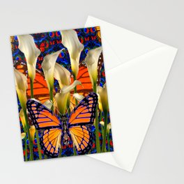 DECORATIVE WHITE CALLA LILIES & MONARCH BUTTERFLY GARDEN COLLAGE Stationery Cards