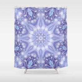Light Blue, Lavender & White Floral Mandala Shower Curtain